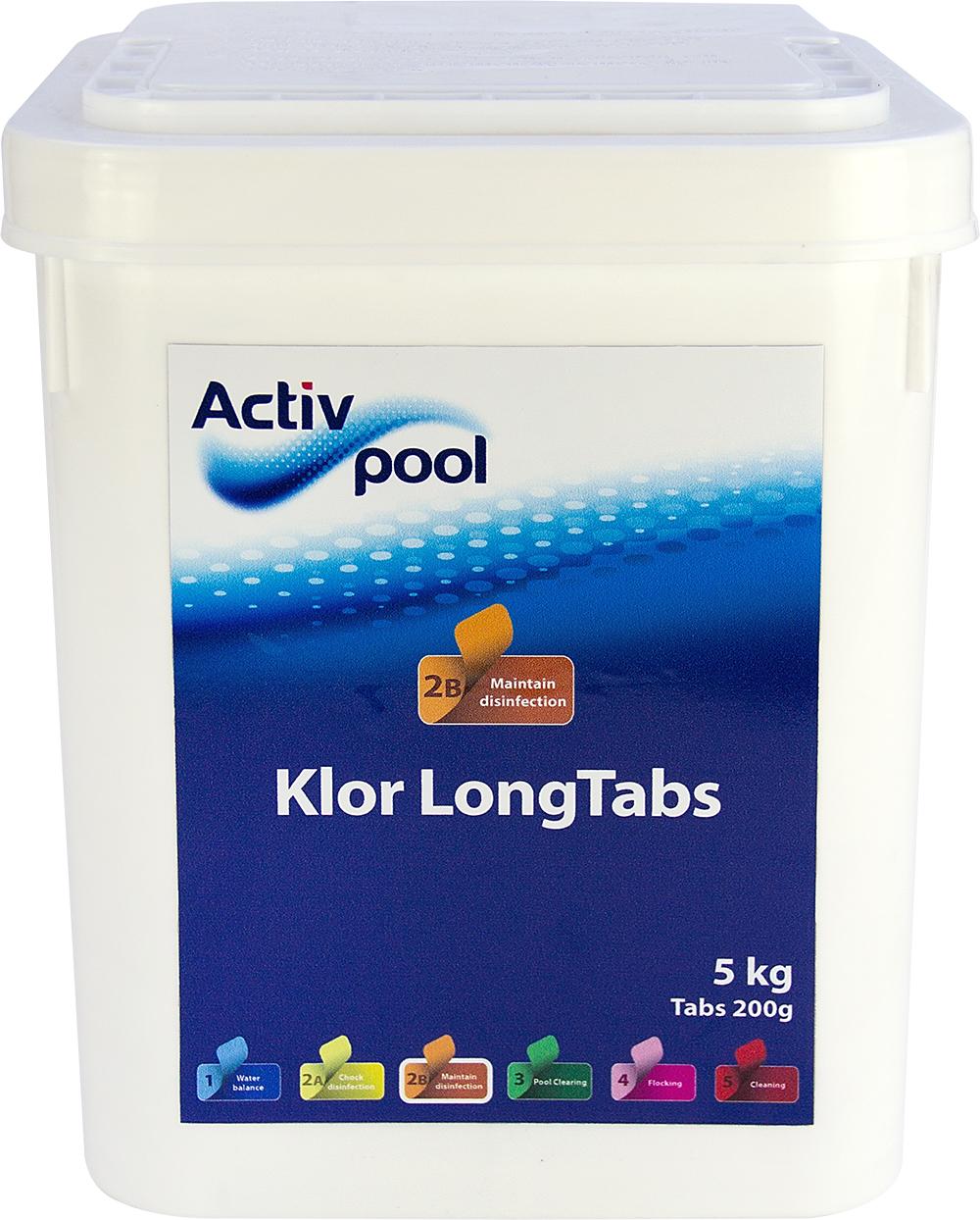 Activ Pool - Klor LongTabs, 200 g tabs / 5 kg | Daglig klor tabletter ustabiliseret | Activ Pool ...